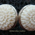 925 Silver Carved Flower Design Earrings ER-511-KA