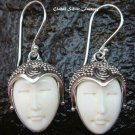Silver Carved Bone Goddess Earrings GDE-1032-IKP