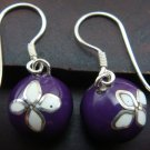 Silver White Flower Purple Chime Ball Earrings CBE-123-KT