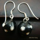 Silver White Polka Dots Black Chime Ball Earrings CBE-126-KT
