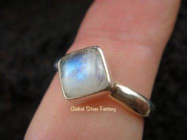 Silver & Square Rainbow Moonstone Ring RI-256-NY