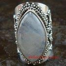 Chunky Sterling Silver Rainbow Moonstone Bali Designer Ring RI-376-KT