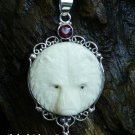 Sterling Silver Bear Totem Pendant with Garnet BP-194-KT