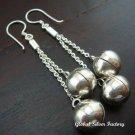 Silver Long Dangle Chime Ball Earrings CBE-130-KA