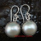 Sterling Silver (17mm) Genuine Freshwater Pearl Bali Earrings ER-624-KT