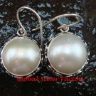 Sterling Silver (19mm ) Genuine Freshwater Pearl Bali Earrings ER-649-KT