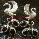Exclusive Sterling Silver Swan Bird & Garnet Gemstone Earrings ER-656-KT