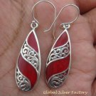 Sterling Silver & Coral Bali Earrings ER-729-KA