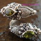 Sterling Silver Peridot Snake Ring RI-100-KA
