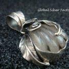 Sterling Silver & Rutilite Quartz Leaf Design Healing Pendant SP-712-NY