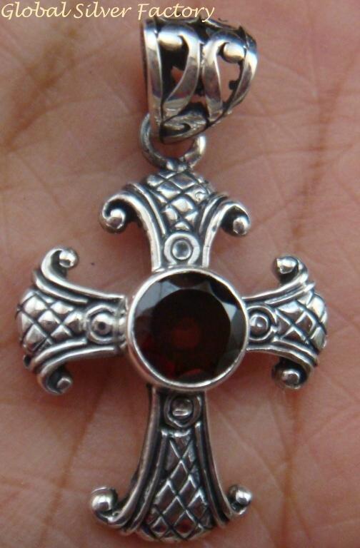 Sterling Silver & Garnet Christian Cross Pendant SP-695-PS