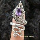 Silver & Amethyst Snake Ring RI-252-NY