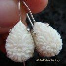 925 Silver Carved Flower Design Earrings ER-512-KA