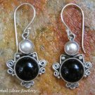 Sterling Silver Black Onyx & Pearl Earrings ER-833-NY