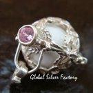 Silver 15mm Harmony Ball/Pregnancy Ball Pendant w/Pink Zircon HB-351-KT