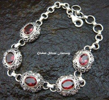Silver & Garnet Women's Bracelet SBB-351-PS