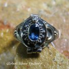 Synthetic Sapphire and Silver Locket Ring LR-744-KT