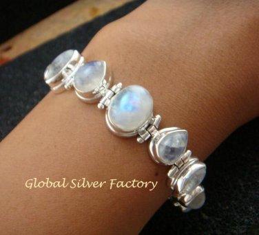Silver and 9 Rainbow Moonstones Bracelet SBB-416-KT