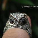 Handcrafted Silver Owl Ring RI-640-PS