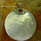 Silver Round Shell and Garnet Pendant SP-782-KA