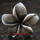Adjustable Size Sterling Silver Bali Frangipani / Plumeria Band Ring SR-143-PS