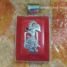 Large Coral Pendant Indonesian Puppet Design with Garnet SP-785-KT