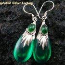 Silver Green Quartz (syn) & Green Agate Earrings SJ-191-KA
