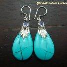 Silver & Turquoise Teardrop Earrings SJ-186-KT