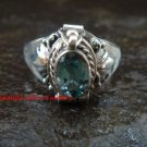 925 Silver Blue Topaz Locket Ring LR-650-KT
