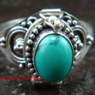 925 Sterling Silver Turquoise Locket Ring LR-653-KT