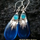 Silver Shappire & Agate Teardrop Earrings SJ-188-KA