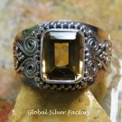 Rectangle Citrine Handcrafted Ring RI-652