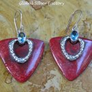 Sterling Silver Heart Red Coral & Blue Topaz Earrings ER-824-KT