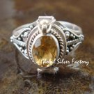 Sterling Silver Citrine Bali Poison Locket Ring LR-660-KT
