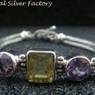 Sterling Silver Multi Gems Dragon Bone Designer Bracelet SBB-409-PS