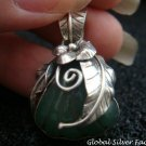 Sterling Silver Amazonite Leaf & Flower Design Pendant SP-711-NY