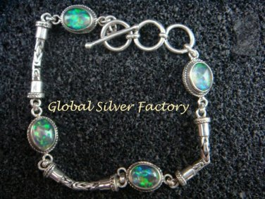 Sterling Silver Bracelet With Four Australian Triple Opals SBB-405-PS