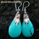 Silver Turquoise (syn) & Garnet Earrings SJ-198-KA