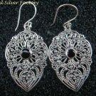Sterling Silver Bali Filigree Earrings W Garnet ER-713-PS