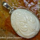 Silver and Carved Bone Tribal Flower Pendant BP-177-KT