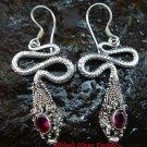 925 Silver Garnet Snake Earrings ER-483-KA