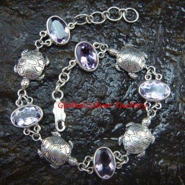 Silver & Amethyst Turtle Bracelet SBB-251-PS
