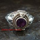 Bali Sterling Silver Round Amethyst Cut Poison/Keepsake Locket Ring LR-642-KT