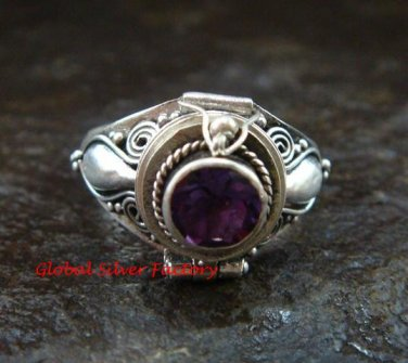 Bali Sterling Silver Round Amethyst Cut Poison/Keepsake Locket Ring LR-642-KT