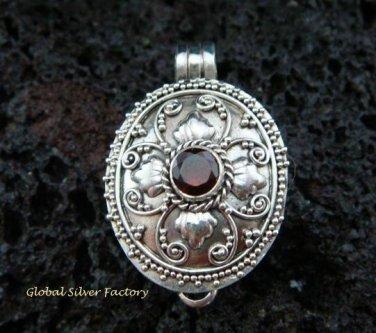 Sterling Silver Garnet Locket Pendant LP-180-KT