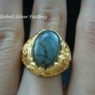 Sterling Silver & 22kt Gold Plated Labradorite Balinese Ring GPR-137-NY