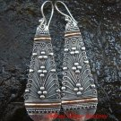 Extra Large Bali Traditional 22kt Gold Accent & Sterling Silver Earrings GPE-120-KT