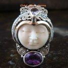 Sterling Silver Carved Face Goddess Ring w/Gem GDR-1130-PS