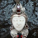 Unique Sterling Silver Bali Traditional Face Pendant w Garnet GDP-1144-PS