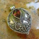 Sterling Silver Bali Keepsake Pendant, Locket Pendant w Stone LP-239-KA